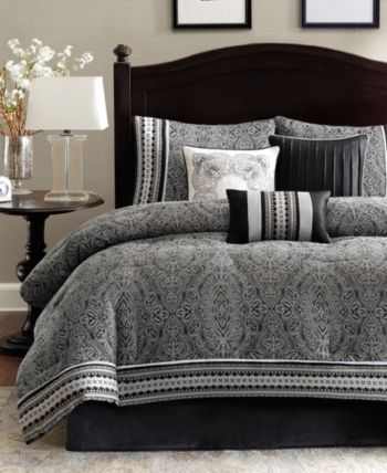 Madison Park Barton 7 Pc Queen Comforter Set Black Comforter Sets King Comforter Sets Bedding Sets