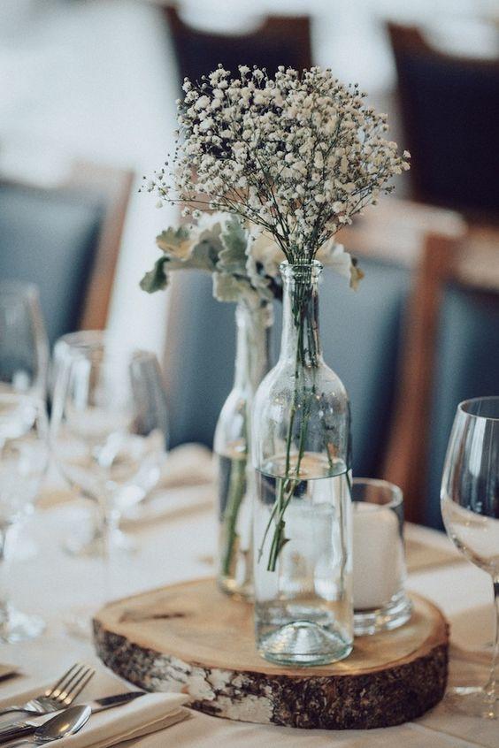 Stunning lakeside winter wedding simple centerpieces