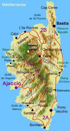 Carte de notre île de beauté ! La Corse est remplie de paysages magnifiques et de points de vues splendides ! Les passionnés de deux roues vont se régaler !