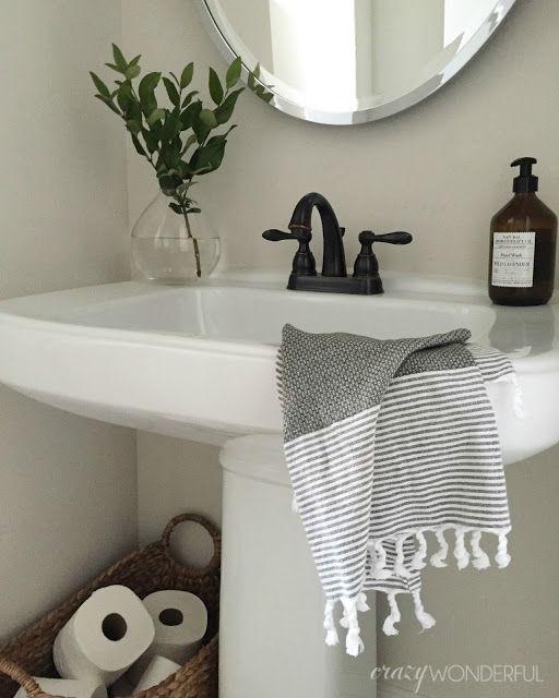 Our Powder Room Crazy Wonderful In 2020 Powder Room Decor Simple Bathroom Designs Simple Bathroom Decor