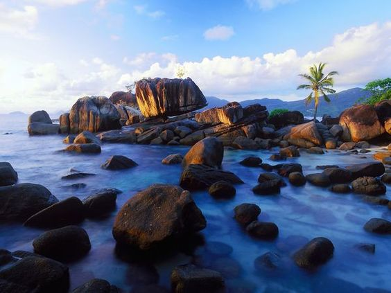 The boulder-strewn coasts of the Seychelles Islands