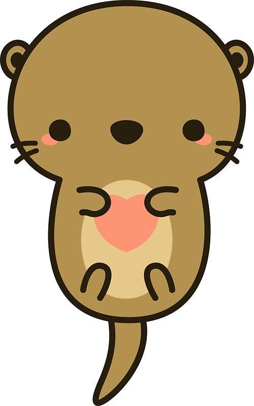 Cute Otter Sticker By Peppermintpopuk In 2021 Cute Animal Drawings Kawaii Cute Cartoon Drawings Kawaii Drawings