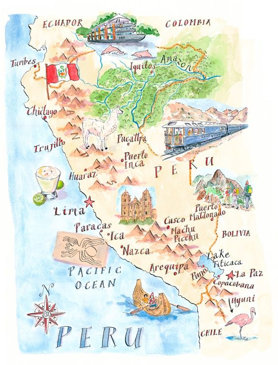 Map of Peru by Michael Hill PlanSouthAmerica – Peru Travel Map