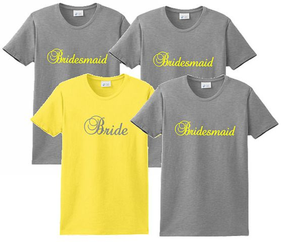 Set of 9 Yellow and Gray Custom Embroidered Team Bride Bridesmaids T-Shirts on Etsy, $98.39 AUD