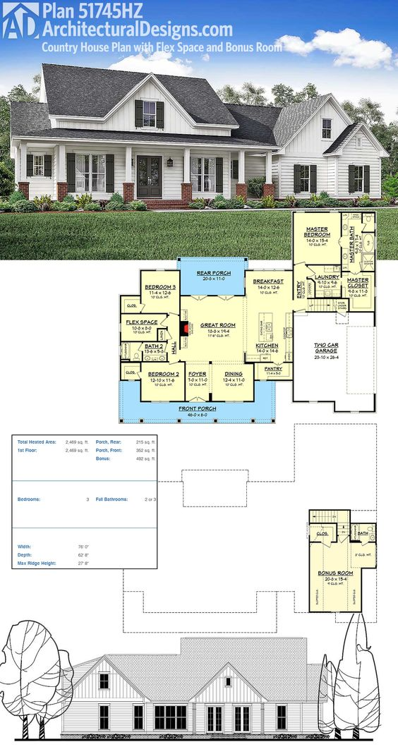 plan 51745hz country house plan with flex space and bonus