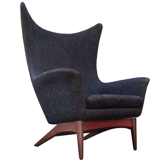 Rare 1950 39 S H W Klein Danish Modern Reclining Wing Chair