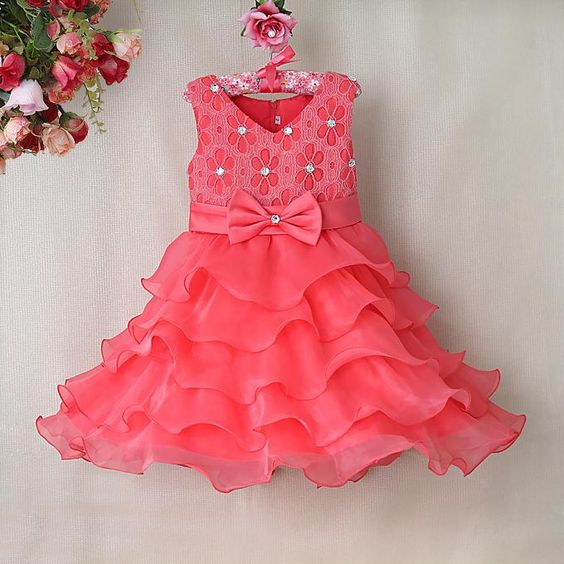 Buy beautiful and unique peach colored wedding dress for cute baby ...
