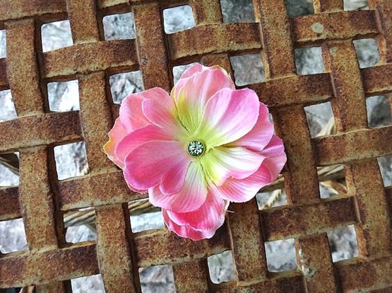 Pink & Lime fabric flower hairclip measures approximately 3.34 inches adorned with green swarovski crystal. Is attached to an alligator clip.  Length :