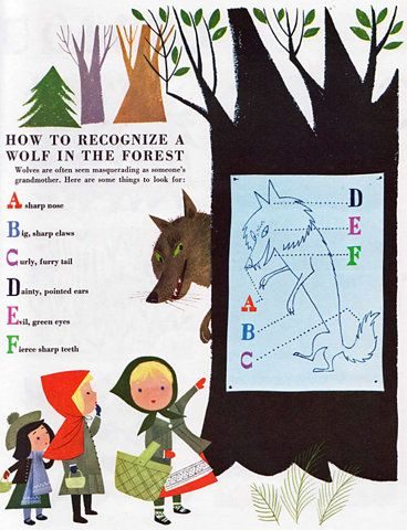 """How to recognize a wolf in the woods""... Little Red Riding Hood"