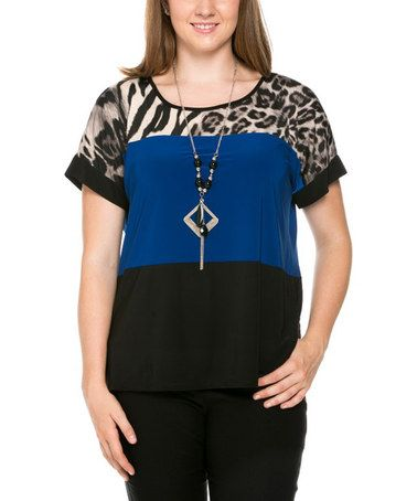 Look what I found on #zulily! Royal & Leopard Color Block Top & Necklace - Plus #zulilyfinds