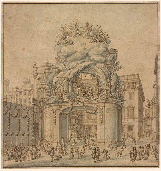 """Niccolò Michetti   The Second """"Macchina"""" for the Festa della Chinea of 1733   Drawings Online   The Morgan Library & Museum"""