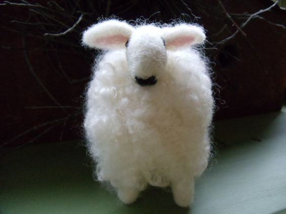 Border Leicester Needle Felted White Curly Wooly Standing Sheep