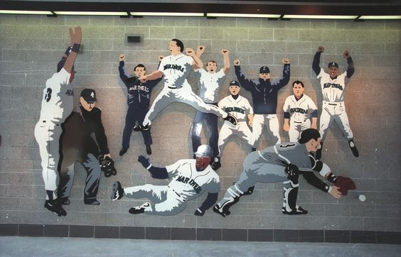 """The Defining Moment. Seattle artist Thom Ross chose to capture one of the most exciting and """"defining"""" moments in Mariners history-the moment the Mariners beat the New York Yankees in the 1995 American League Division Series."""