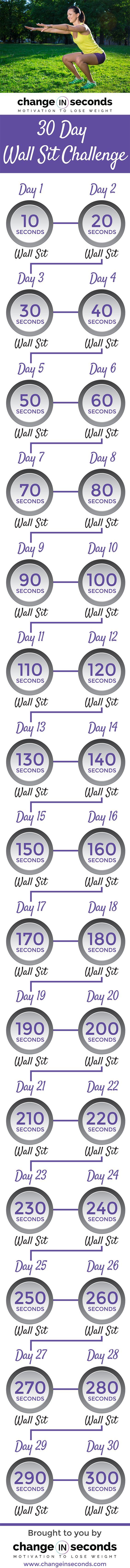 Wall Sit Challenge (Download PDF) http://www.changeinseconds.com/30-day-wall-sit-challenge/: