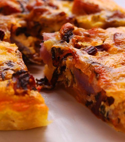 Chorizo and roast vegetable tart