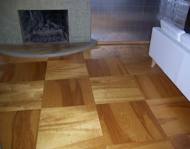 We used 2 39 x2 39 biscuit joined birch plywood for our for Unusual inexpensive flooring ideas