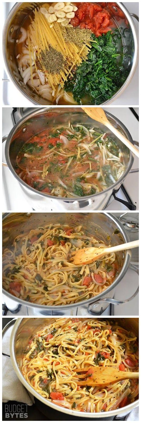 Italian Wonderpot  4 cups vegetable broth,  2 Tbsp olive oil, 12 oz. fettuccine, 8 oz. frozen chopped spinach, 1 (28 oz.) can diced tomatoes, 1 medium onion, 4 cloves garlic, ½ Tbsp dried basil, ½ Tbsp dried oregano, ¼ tsp red pepper flakes, freshly cracked pepper to taste, 2 oz. feta cheese.