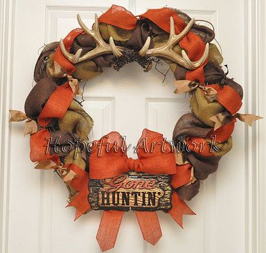 turqoise and orange burlap wreath | The Gone Hunting Wreath is made with natural, brown, and orange burlap ...
