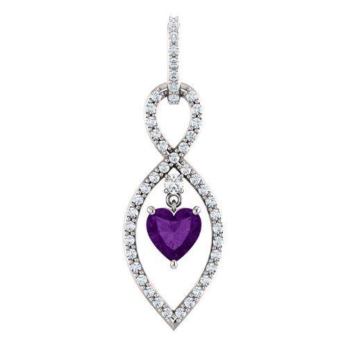 14K White Gold 6.00x6.00mm Heart Cut Amethyst and Diamond Infinity-Inspired Pendant -- LIFETIME WARRANTY