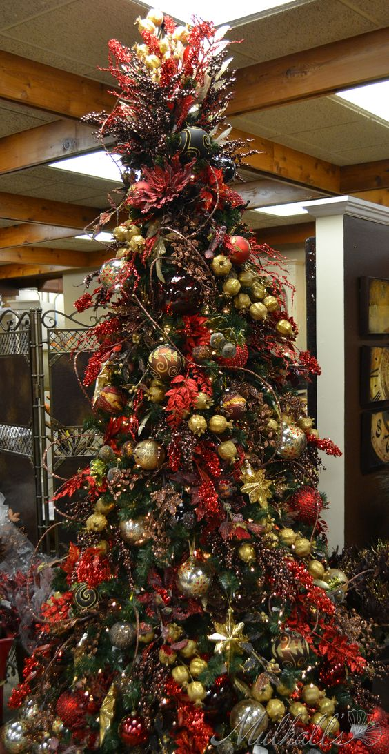 red chocolate themed christmas trees and christmas trees