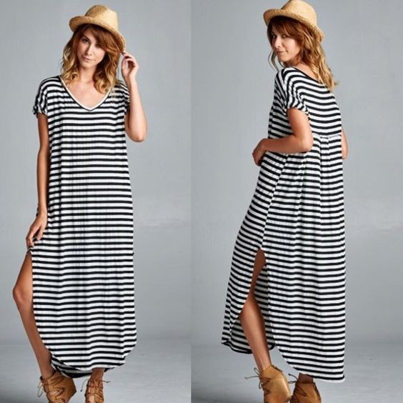 Striped Boho Maxi Dress This striped maxi dress has a loose fit ...
