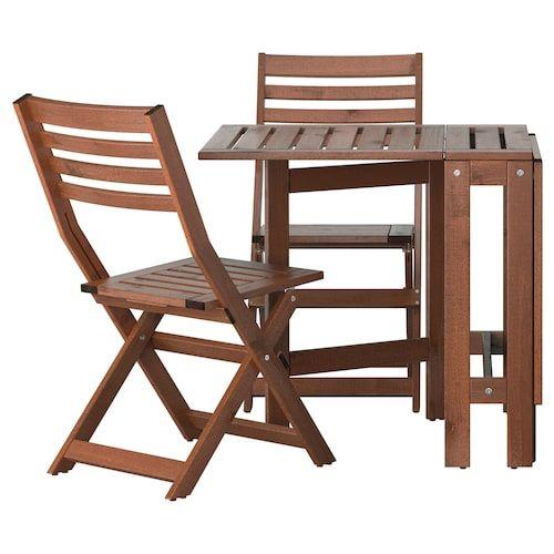 Ikea Sedie Pieghevoli Giardino.Ikea Applaro Tavolo 2 Sedie Pieghevoli Giardino Tavolo