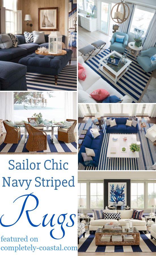 Coastal Interiors With Navy Blue White Striped Area Rugs Nautical Interior Nautical Decor Living Room Nautical Living Room