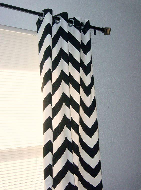 Black White Chevron Curtains Grommet Top 63 72 84 90 96 108 120 ...
