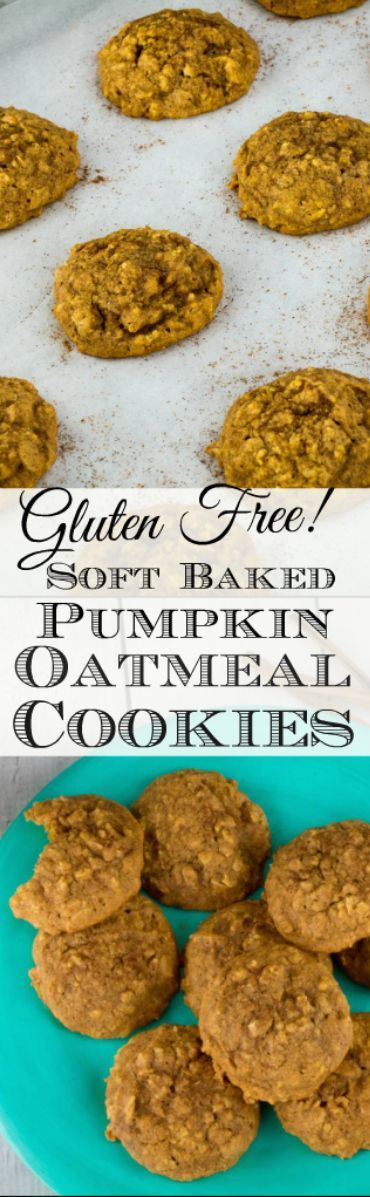 Repin to save recipe for later!  Soft Baked Gluten Free Pumpkin Oatmeal Cookies…