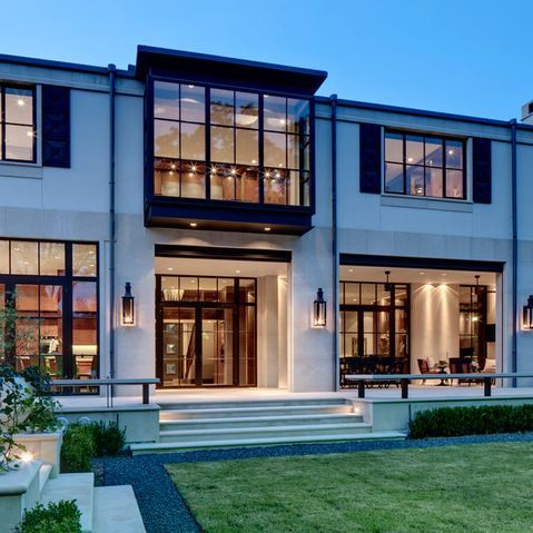 Modern home exterior limestone design ideas pictures for Contemporary house window designs