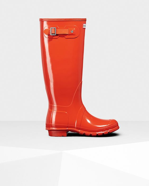 Womens Orange Tall Gloss Rain Boots | Official US Hunter Boots