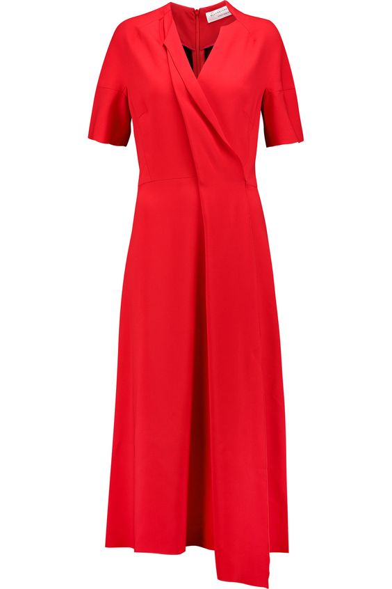 VICTORIA BECKHAM Wrap-effect crepe midi dress. #victoriabeckham #cloth #dress