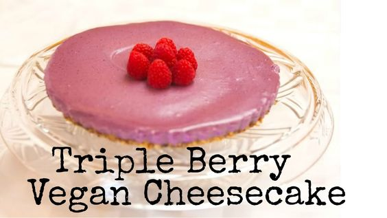 Triple Berry Vegan Cheesecake Recipe. #dairyfree #cheesecake #berry #rawvegan