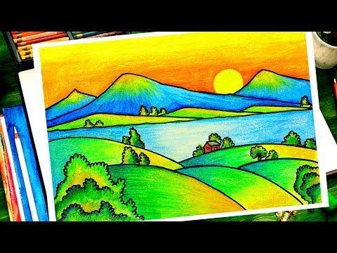 How To Draw Easy Scenery تعليم الرسم للاطفال تعلم كيف ترسم منظر طبيعي لشروق الشمس Youtube Landscape Art Lessons Diy Art Painting Kids Art Class