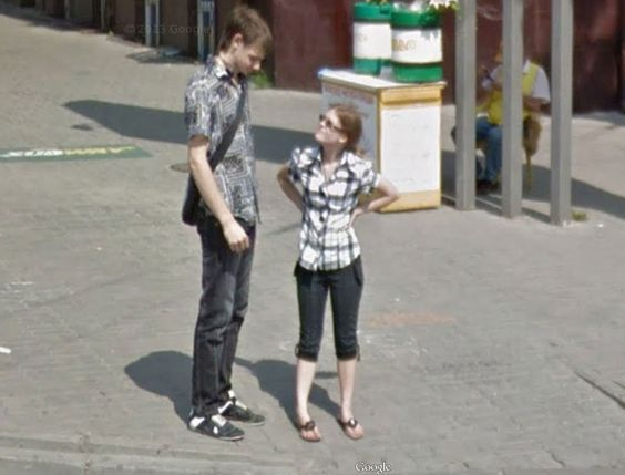 I can't figure out whether this guy is tall, or the girl is short – thnx streetviewfun
