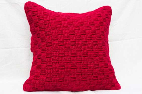 Crochet Cushion Cover, Wool Cushion Cover, Red Cushion Cover, Scatter Cushion, Accent Cushion, Decorative Cushion, Decorative Pillow, Throw Cushion, Throw Pillow