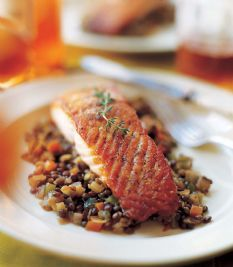 Salmon with Lentils (Serves 4) - One of my favorite recipes growing up that my Mom made! I love eating the leftover lentils on their own or with egg whites