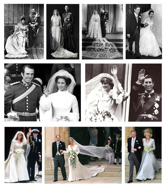 LEFT TO RIGHT: King George V & Queen Mary 1893, King George VI & Queen Elizabeth 1923, Queen Elizabeth II & Prince Phillip 1947, Princess Margaret & Anthony Armstrong-Jones 1960, Princess Anne & Captain Mark Phillips 1973, Prince Charles & Lady Diana Spencer 1981, Prince Andrew & Sarah Ferguson 1986, Prince Edward & Sophie Rhys-Jones 1999, Prince Charles & Camilla Parker Bowles 2005.
