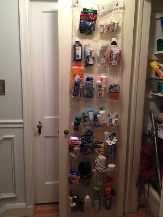 Another great way to use clear plastic shoe organizers - store all of your over-the-counter medicines & bathroom supplies within easy reach.