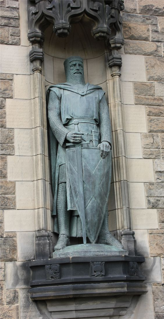 Edinburgh Castle entrance; William Wallace statue at Edinburgh, Scotland