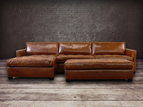 Combine timeless with new styling with the Arizona Leather Sectional Sofa. Slim…