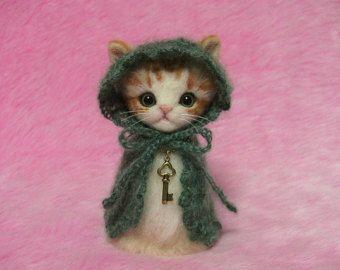 """Needle Felted Orange Tabby Cat in Cape with Hood: Japanese """"Kokeshi"""" Doll Style Miniature Needle Felt Cat, Needle Felting"""