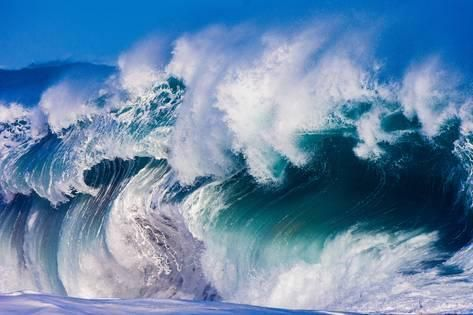Photographic Print: Powerful wave breaking off a beach, Hawaii by Mark A Johnson : 36x24in