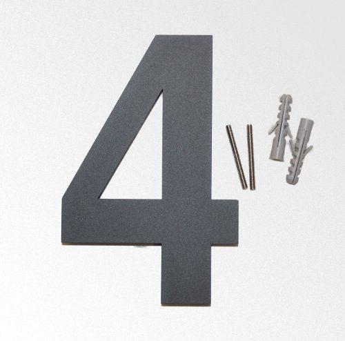 Thorwa® Design Edelstahl Hausnummer 4, anthrazit beschichtet, inkl. Montagematerial / H: 160mm / Farbe: grau-schwarz RAL 7011