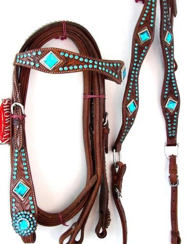 Tan Leather Western Headstall Breastplate                              …