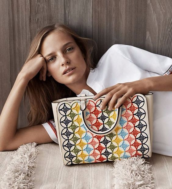Tory Burch Multi-Color Embroidered Shoulder Bag