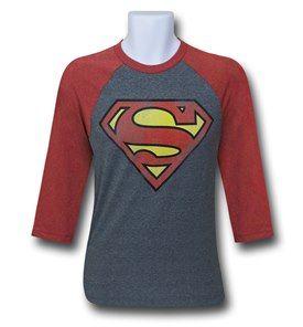 Superman Symbol Grey Raglan T-Shirt