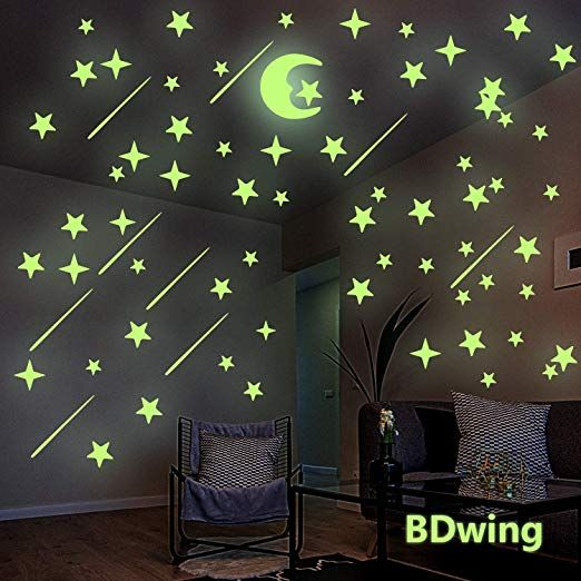 Amazon Com Glow In The Dark Stars And Moon Wall Stickers Glowing Stars For Ceiling And Wall Decals P Baby Room Wall Decals Simple Room Wall Stickers Bedroom