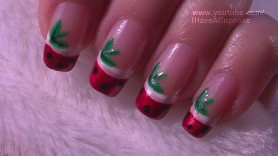 Strawberry French Tip Fruit Nail Art Tutorial / Arte para las uñas de fresa estilo punta frances