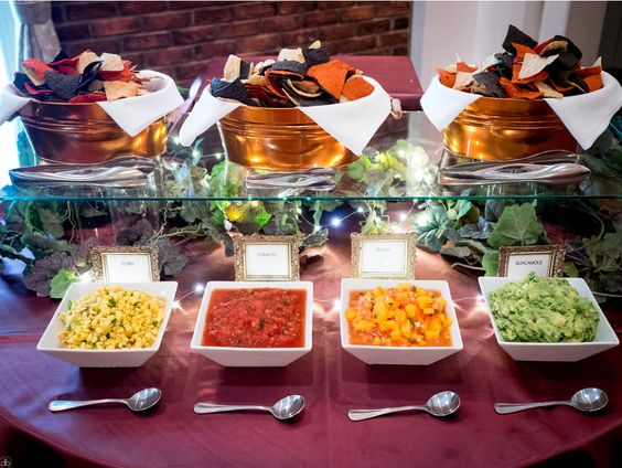 Chips and Salsa bar! Vegan Wedding at the event center at blue in Bethlehem, PA